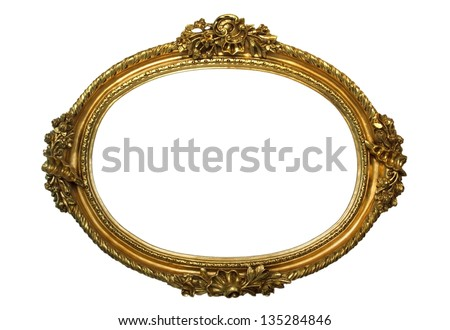 GOLD PLATED WOODEN FRAME - stock photo
