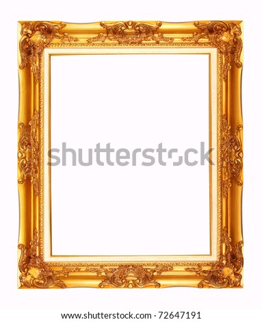 Gold plated wooden with strip cloth picture frame isolate (vertical) - stock photo