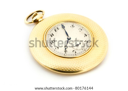 Gold pocket watch isolated on white