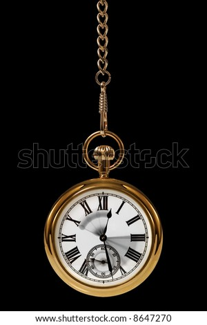 Gold pocket watch with motion blur on the hands to convey the passing of time. - stock photo