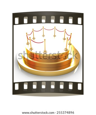 Gold podium 3d on a white background. The film strip - stock photo