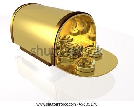 Gold post box with e-mail signs, white background.