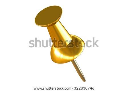 gold push pin closeup isolated on white background - stock photo