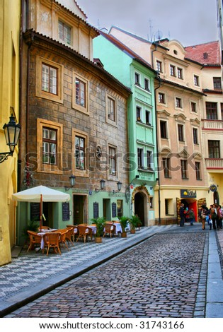 Gold quaint street Prague - stock photo