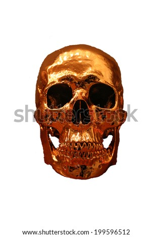 Gold reflective skull isolated on a white background - stock photo