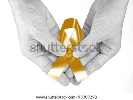Gold Ribbon a Symbol of Childhood - stock photo
