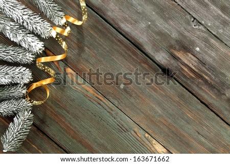 gold ribbon and tree  - stock photo