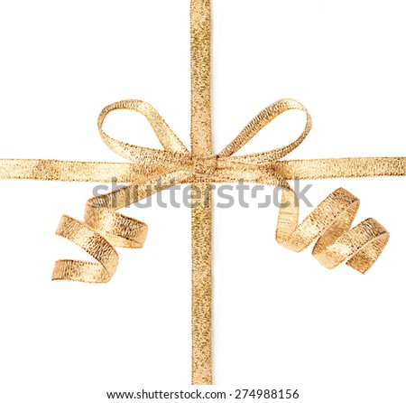 Gold ribbon with bow isolated on a white background