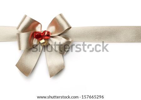 Gold ribbon with bow isolated on white - stock photo