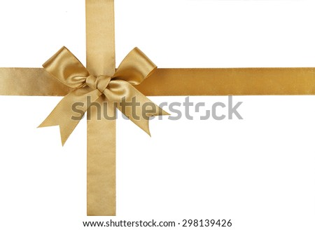 Gold ribbon with bow isolated on white background. - stock photo