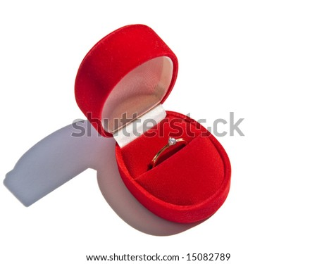 Gold ring in red box - stock photo