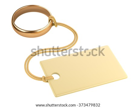 Gold ring with a blank tag, tied to a rope. 3d image isolated on white background - stock photo