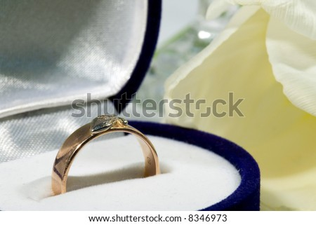 Gold ring with tulip. Gift.