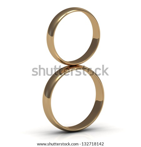 Gold rings on a wedding in a figure eight
