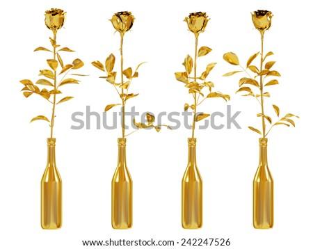 Gold roses set isolated on white background. - stock photo