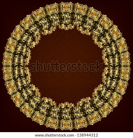 Gold round frame. A place for photos or text. Raster copy of vector image - stock photo