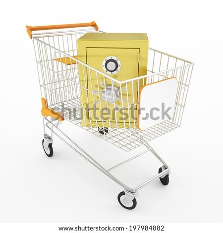 gold safe and shopping cart - stock photo