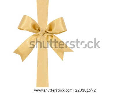 Gold satin gift bow ribbon, file includes a excellent clipping path