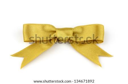Gold satin ribbon on white background - stock photo