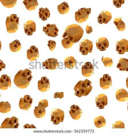 Gold sculls seamless pattern in 3D - stock photo
