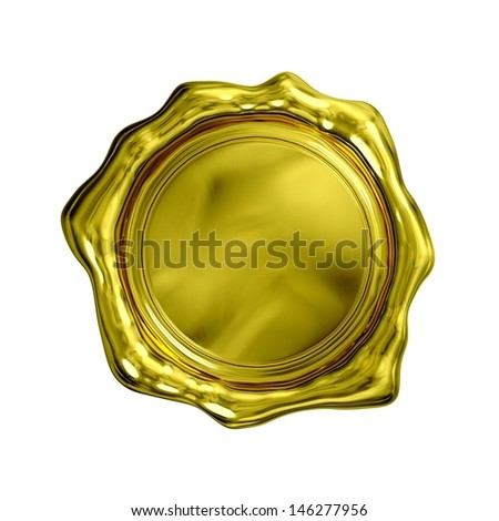 Gold Seal - Isolated - stock photo