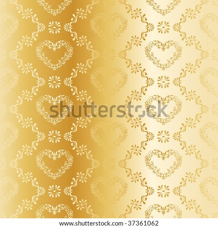 Gold seamless damask pattern with hearts (JPG); a vector version is also available - stock photo