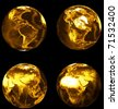 gold set of earths - stock photo