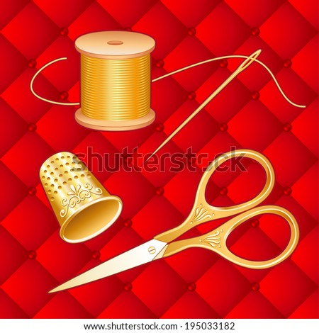 Gold Sewing Set, vintage engraved embroidery scissors, thimble, needle, spool of golden thread on crimson red quilted background for needlecraft, sewing, tailoring, quilting and textile arts. - stock photo