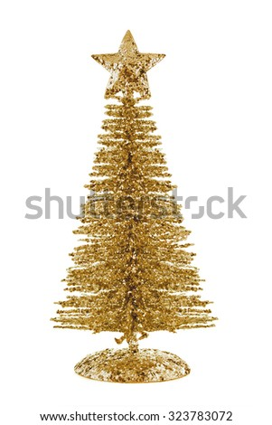 Gold shiny Christmas tree with star isolated on white background - stock photo
