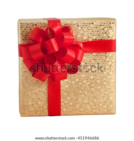 Gold shiny decorated paper wrap gift box red bow ribbon present birthday christmas isolated - stock photo