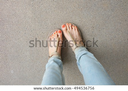 Gold Shoes (Slippers) on Girl  Legs and Feet on the Ground Great For Any Use.