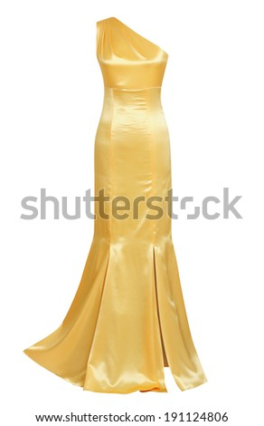 gold silk evening dress isolated on white - stock photo