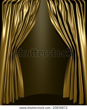 Gold silk stage curtain - stock photo
