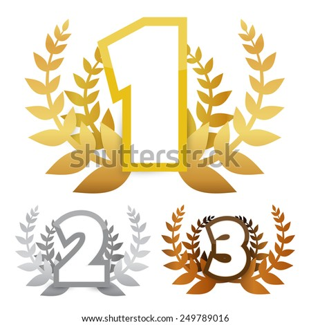 Gold - Silver and Bronze Awards Symbols - stock photo