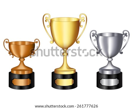 Gold silver and bronze champion trophy  for 1st, 2nd, and 3rd places isolated on white background - stock photo