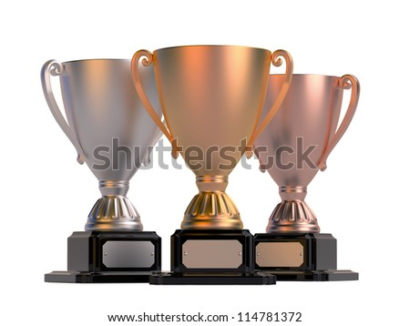 Gold, silver and bronze cups isolated on white. High resolution 3D rendering