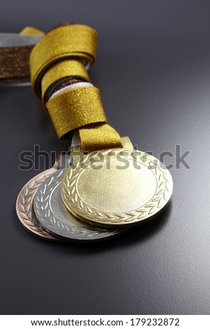 gold,silver and bronze medals in a group - stock photo