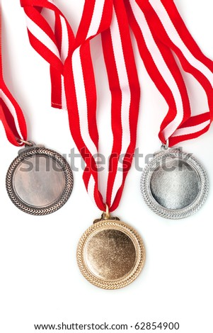Gold, silver and bronze  medals  with ribbons - stock photo
