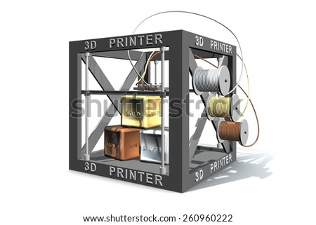 Gold silver and bronze printing 3d printer