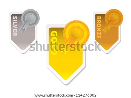 Gold silver and bronze ribbons with paper tab and shadow - stock photo
