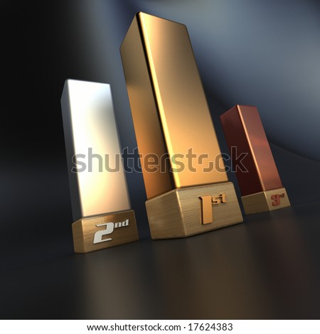 Gold, silver and bronze trophies - stock photo