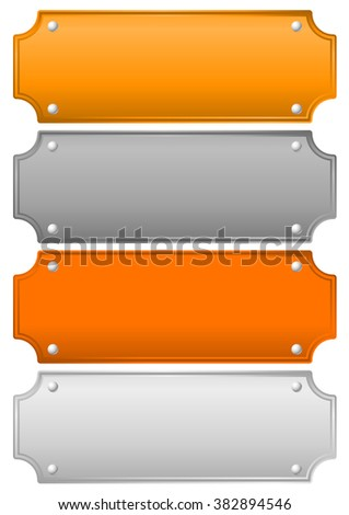 Gold, silver, bronze and platinum plates, plaques, bars. - stock photo