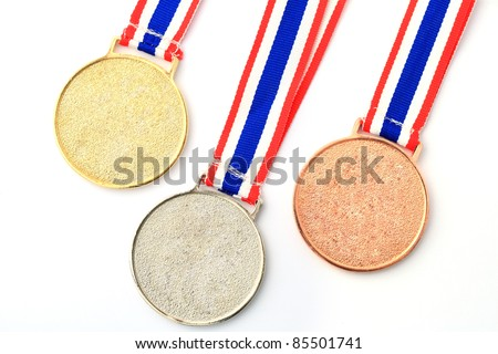 gold, silver, bronze Medal & Ribbon for 1-2-3 place - stock photo
