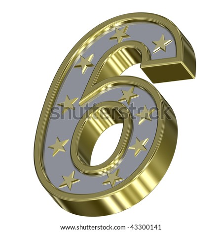 Gold-silver digit with stars isolated on white. Computer generated 3D photo rendering.