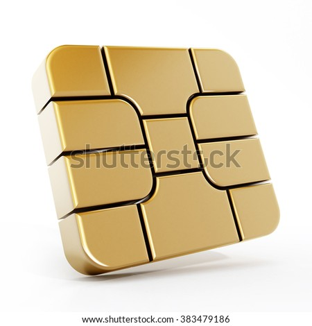 Gold sim card chip isolated on white background. - stock photo