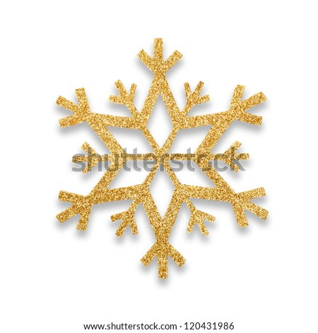 Gold snow flake Christmas tree topper. - stock photo