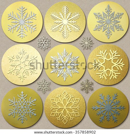 Gold Snowflakes. Silver Snowflakes. Snowflakes icons collection isolated on the gold background. 3d Snowflake medals set. Winter series labels, logo. Modern style. - stock photo