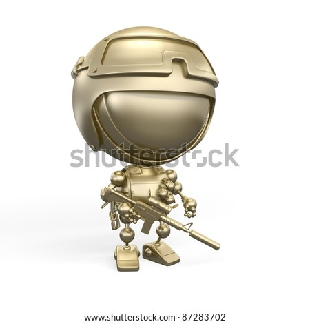 Gold soldier with weapon