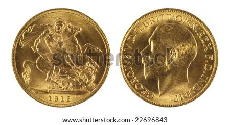 Gold sovereign - stock photo