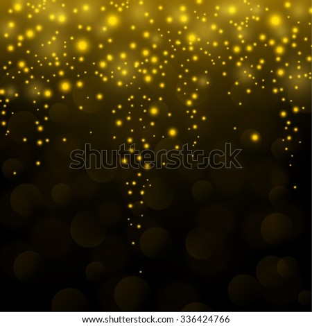 Gold sparkle glitter falling background